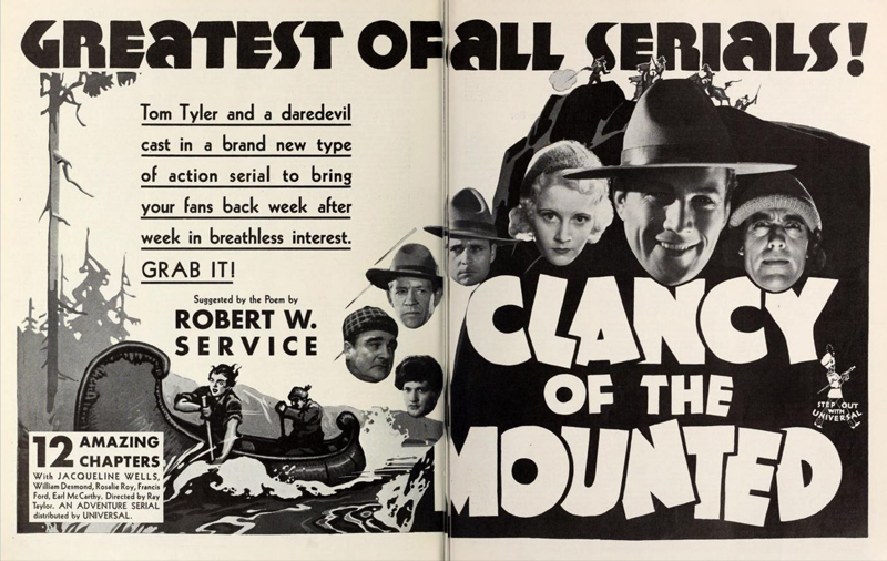 Clancy of the Mounted Motion Picture Herald two page ad