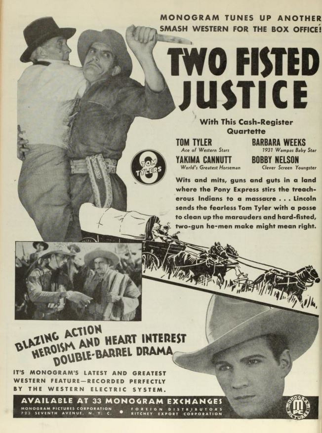 Two Fisted Justice one page ad